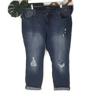 Torrid Distressed Boyfriend Blue Jeans Size 22 New